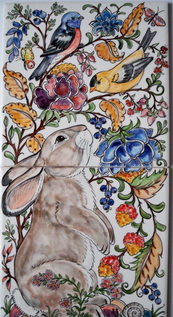 tuzi williams, rabbit, bird, tile