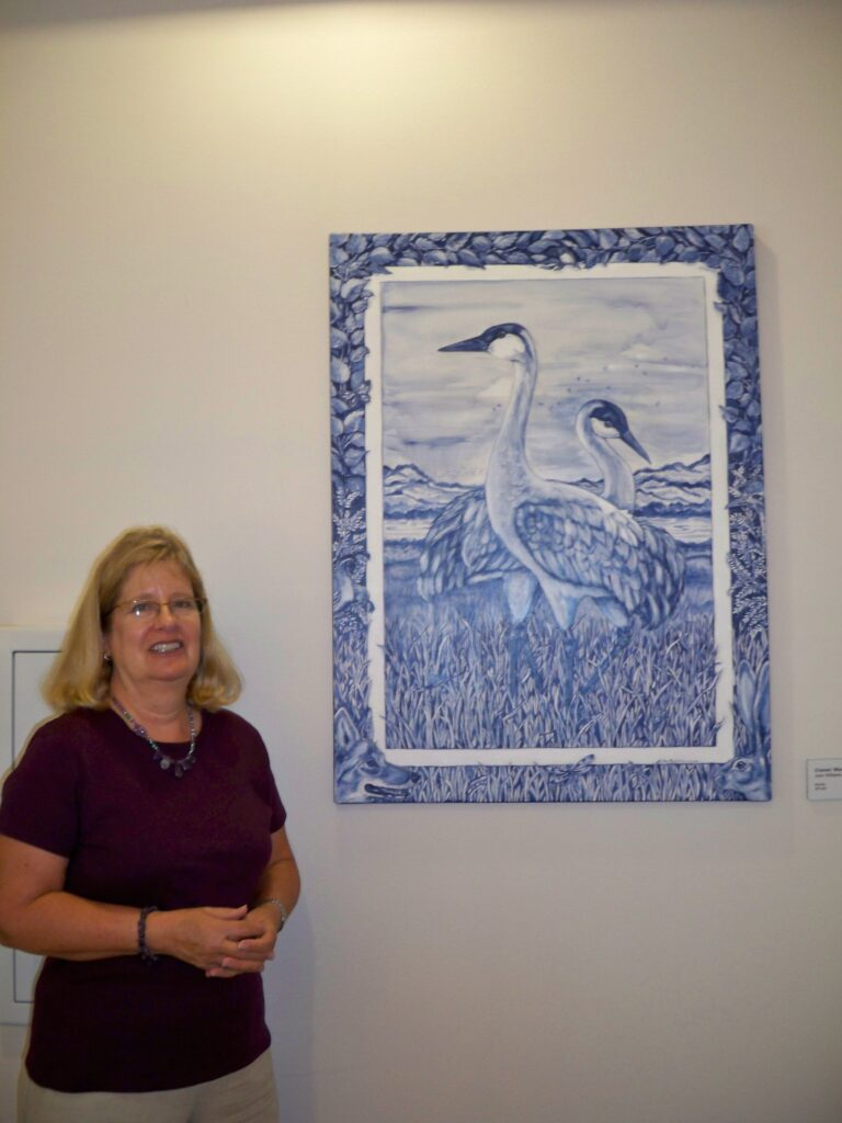 tuzi williams, art show, blue, crane