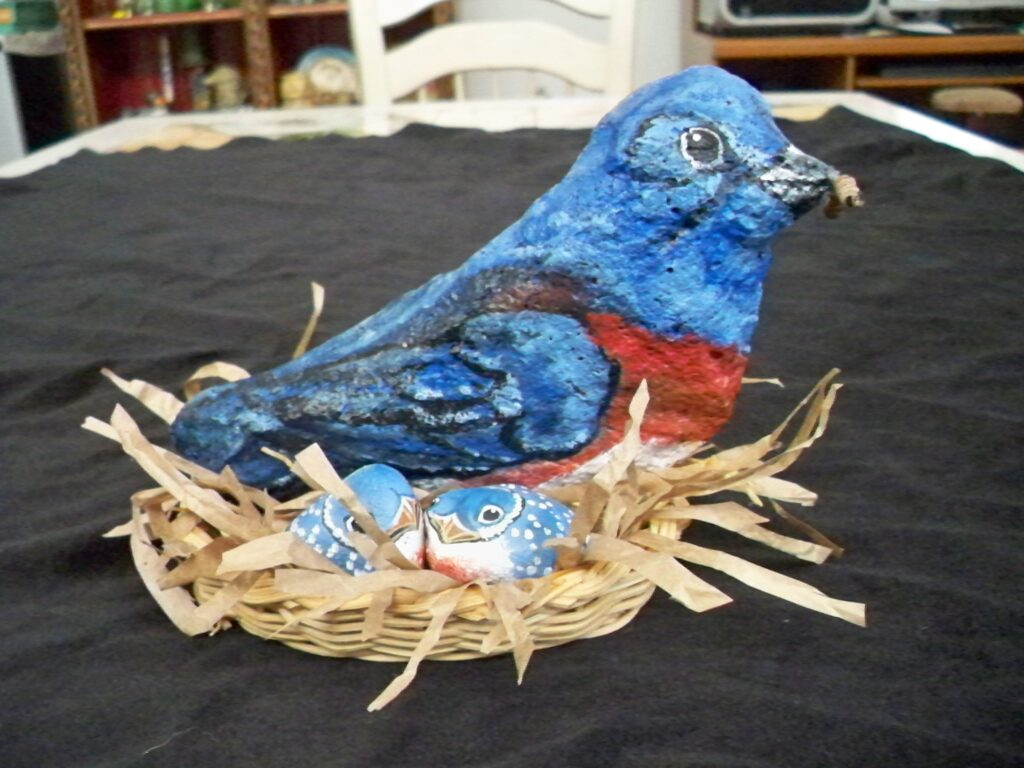 painted rock, painted stone, bluebird, tuzi williams