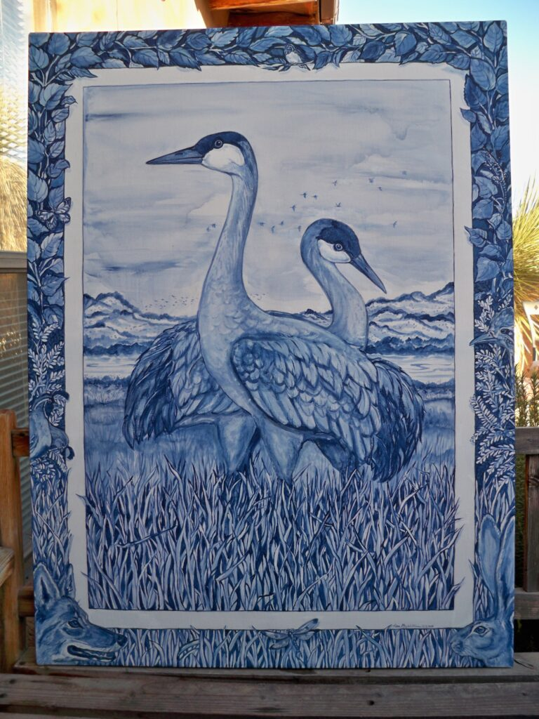 tuzi williams, crane, bird, art, blue