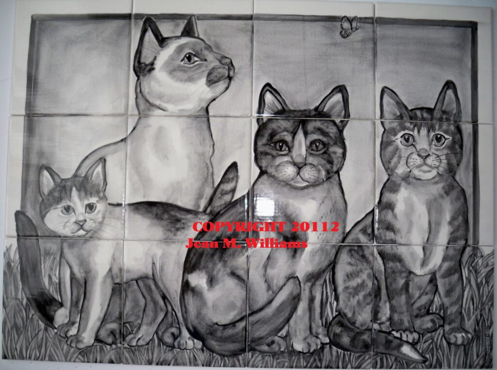 tuzi williams, art, tile, cat
