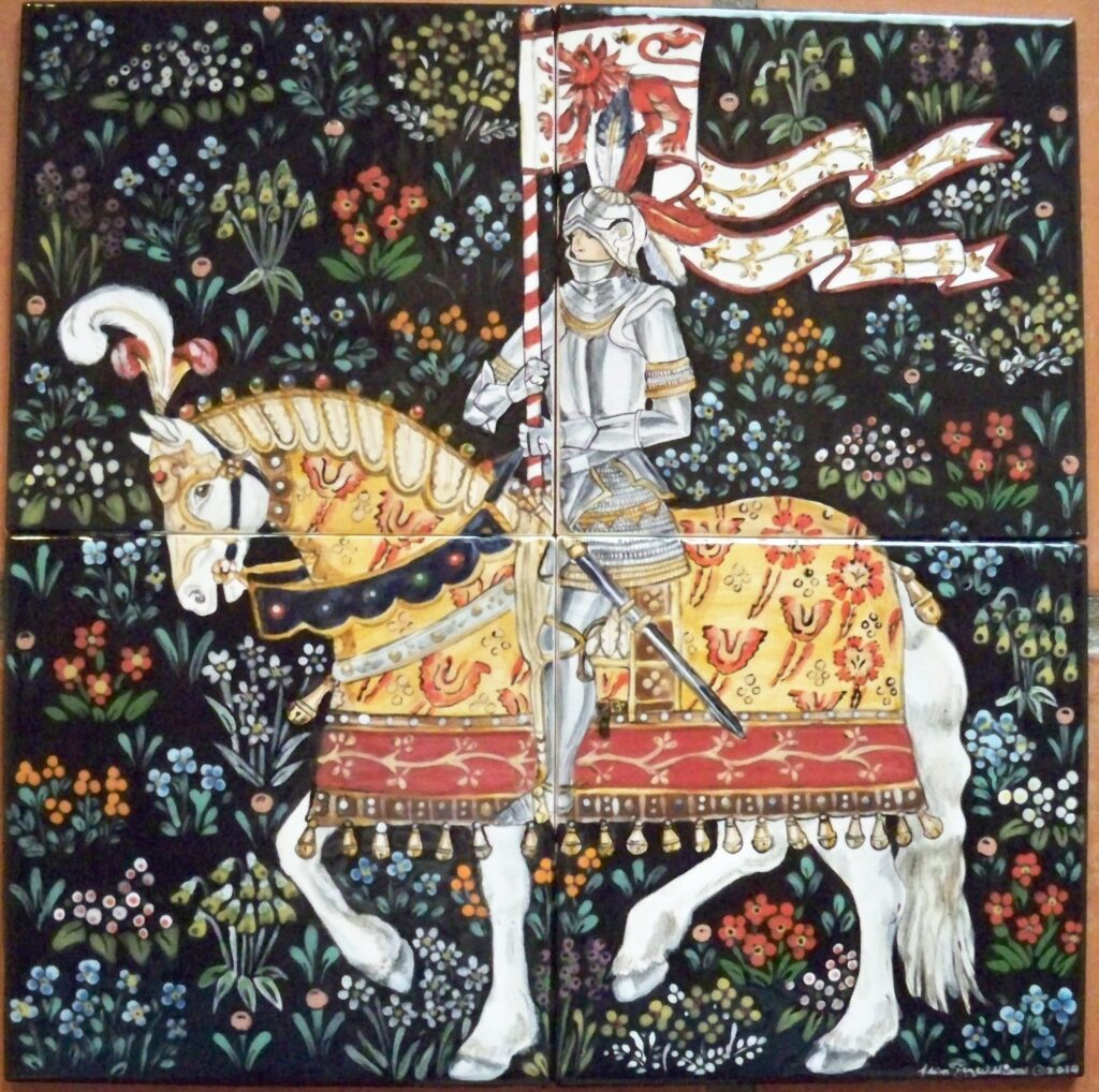 knight, horse, tile, medieval