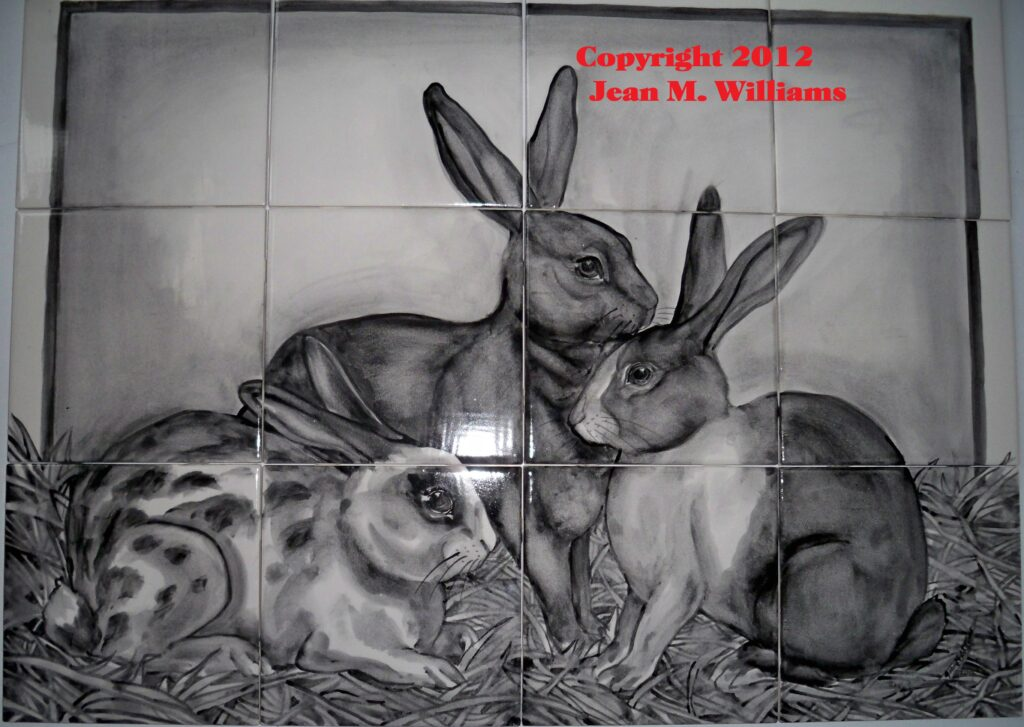 tuzi williams, art, rabbit, tile