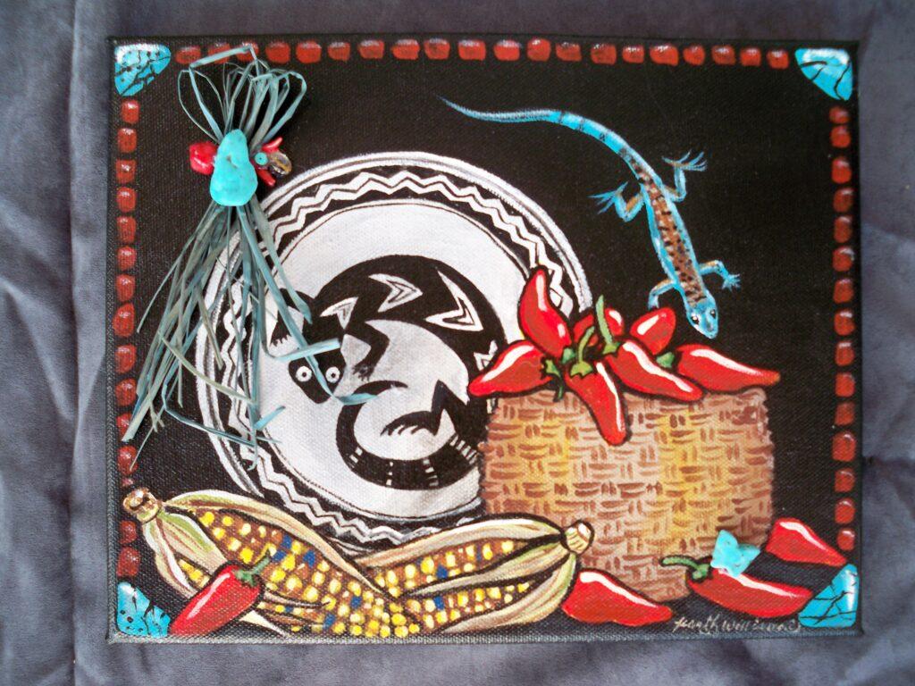 tuzi williams, painting, lizard