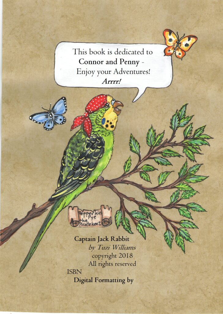 pirate parakeet, dedication page, captain jack rabbit