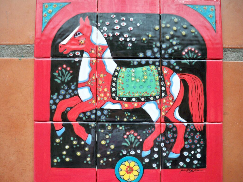 tuzi williams, horse tile, red