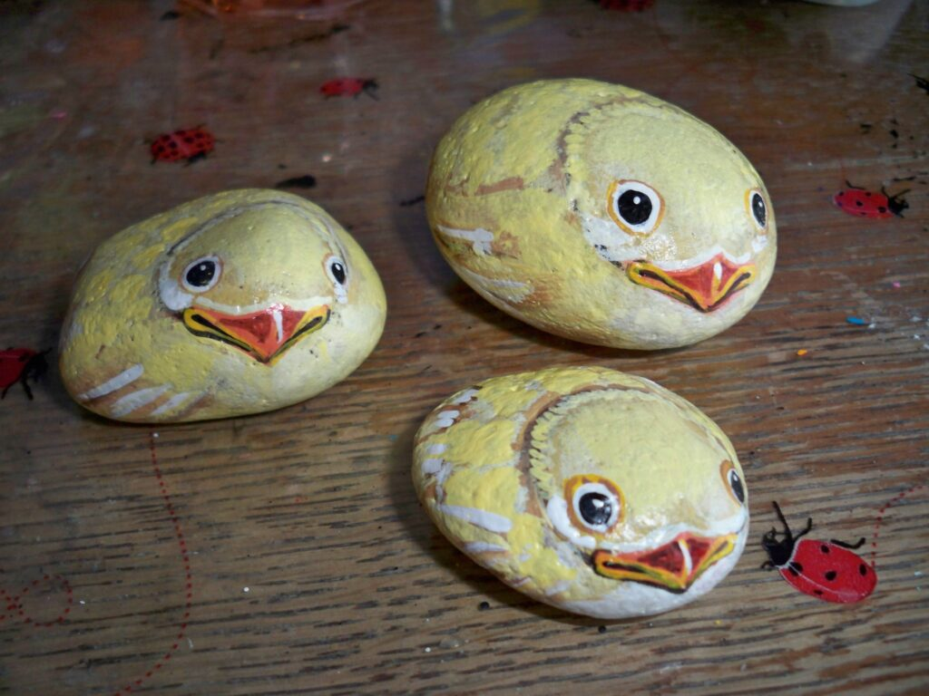 painted rock, chick, chicken