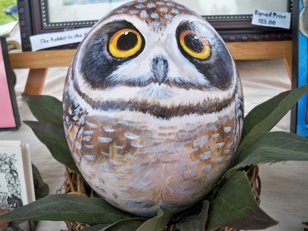painted rock, owl