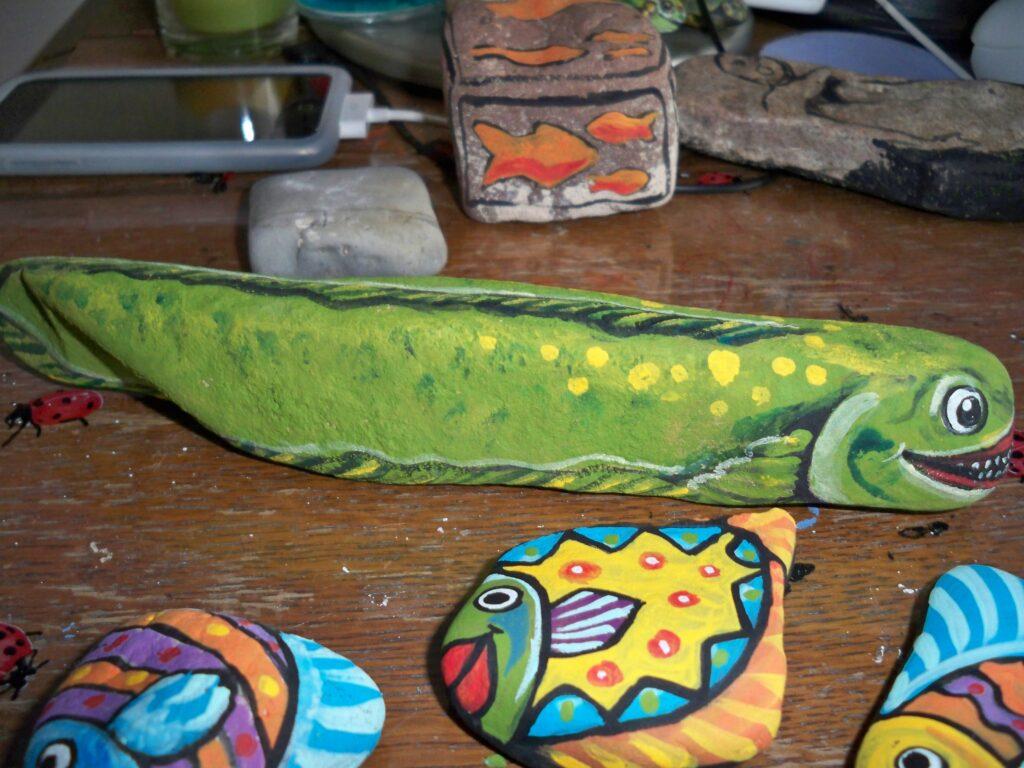 painted rock, moray eel, fish