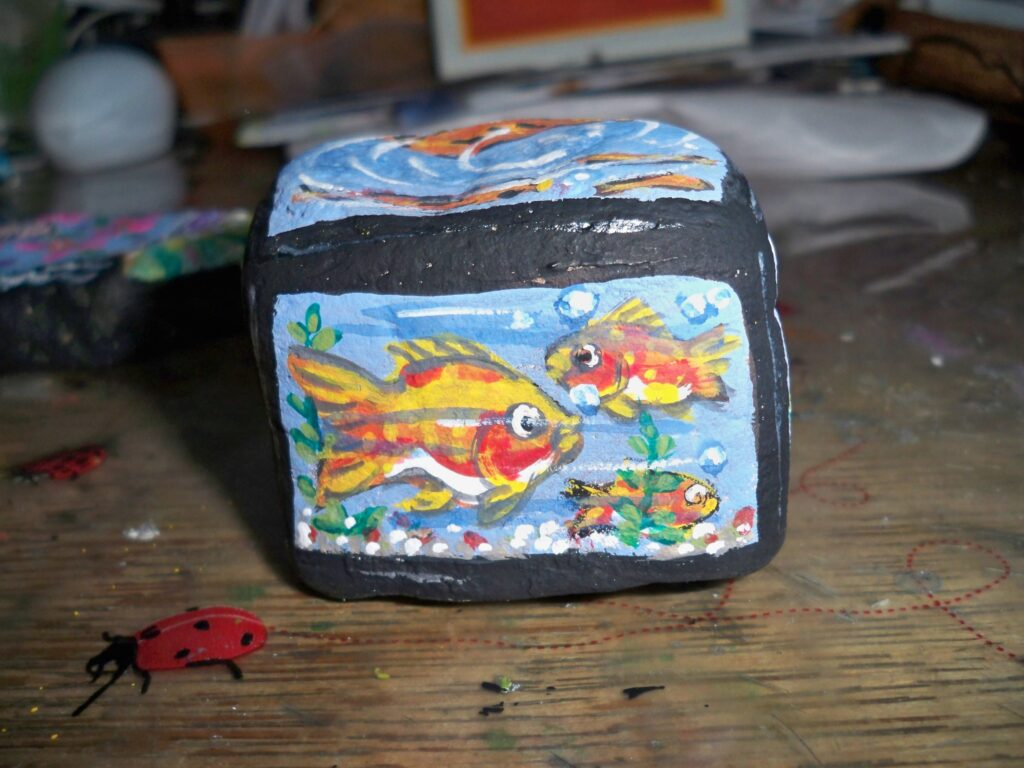 painted rock, fish, aquarium