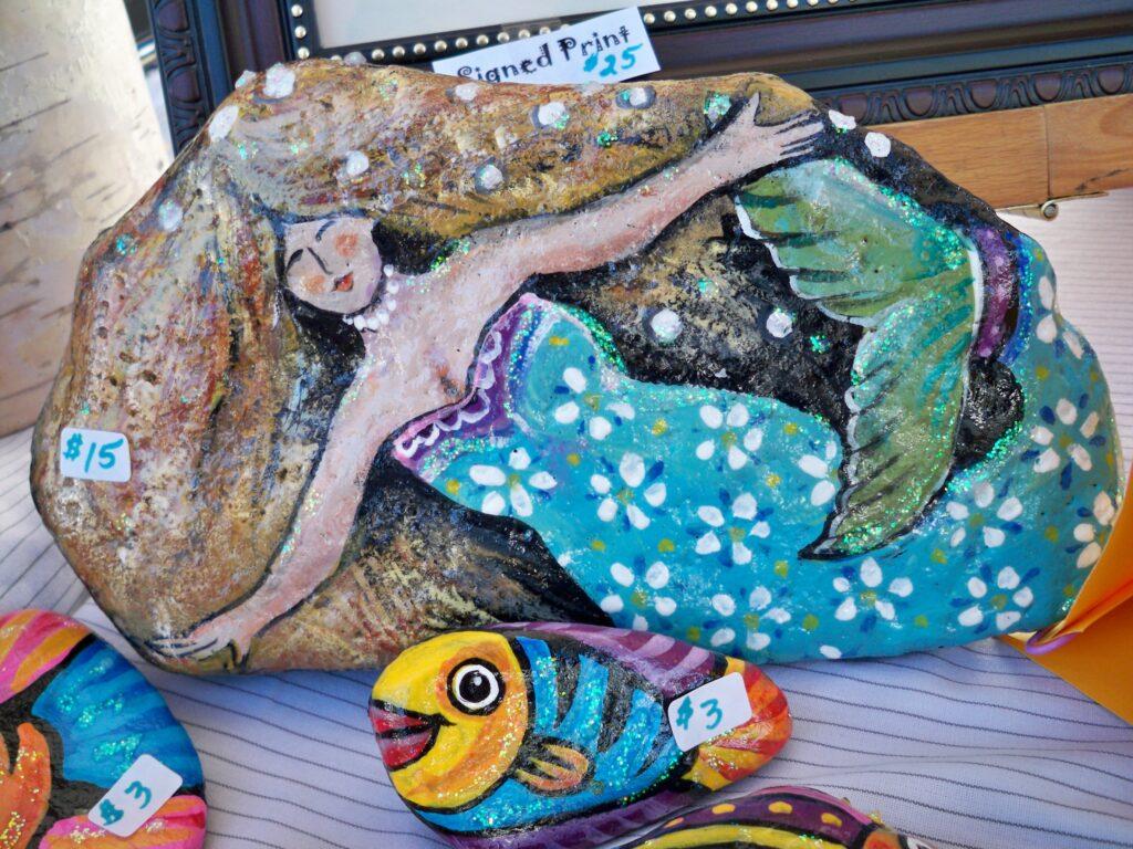 painted rock, mermaid, fish