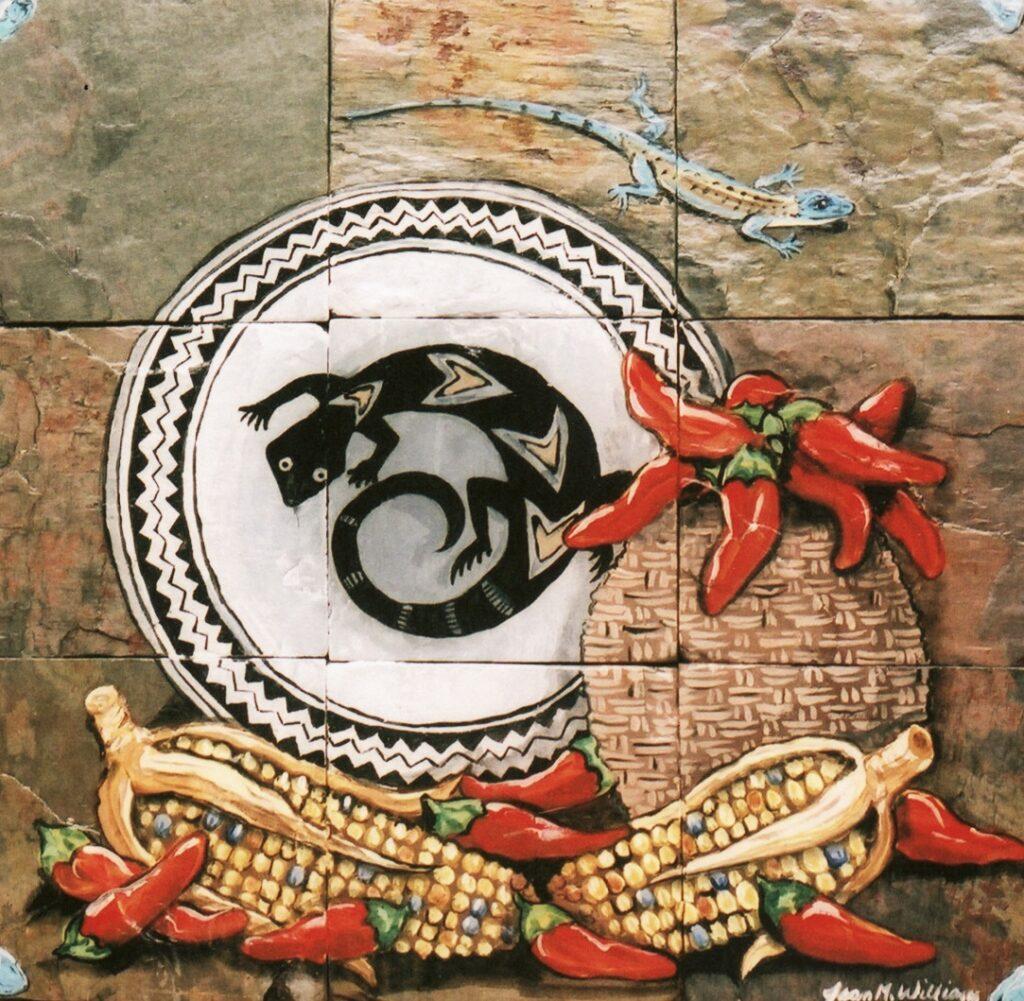 ceramic+tile, southwest, animal, chile pepper