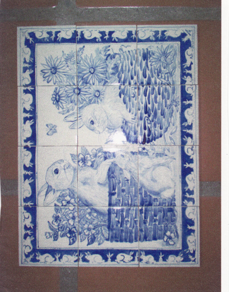 tuzi williams, blue rabbit, tile