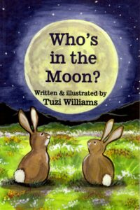 """who's in the moon?"", rabbit, animal, friendship, counting book, picture book"