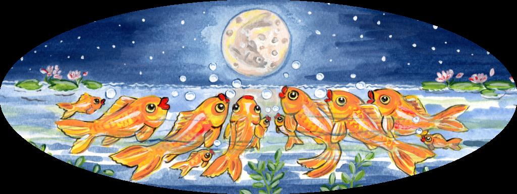 fish goldfish koi night moon pond