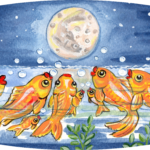 fish goldfish koi night moon pond
