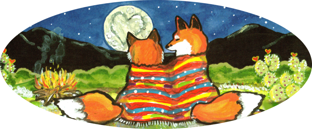 Romantic fox foxes heart moon