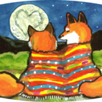 Romantic fox foxes heart moon