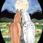 horse pony night moon friends