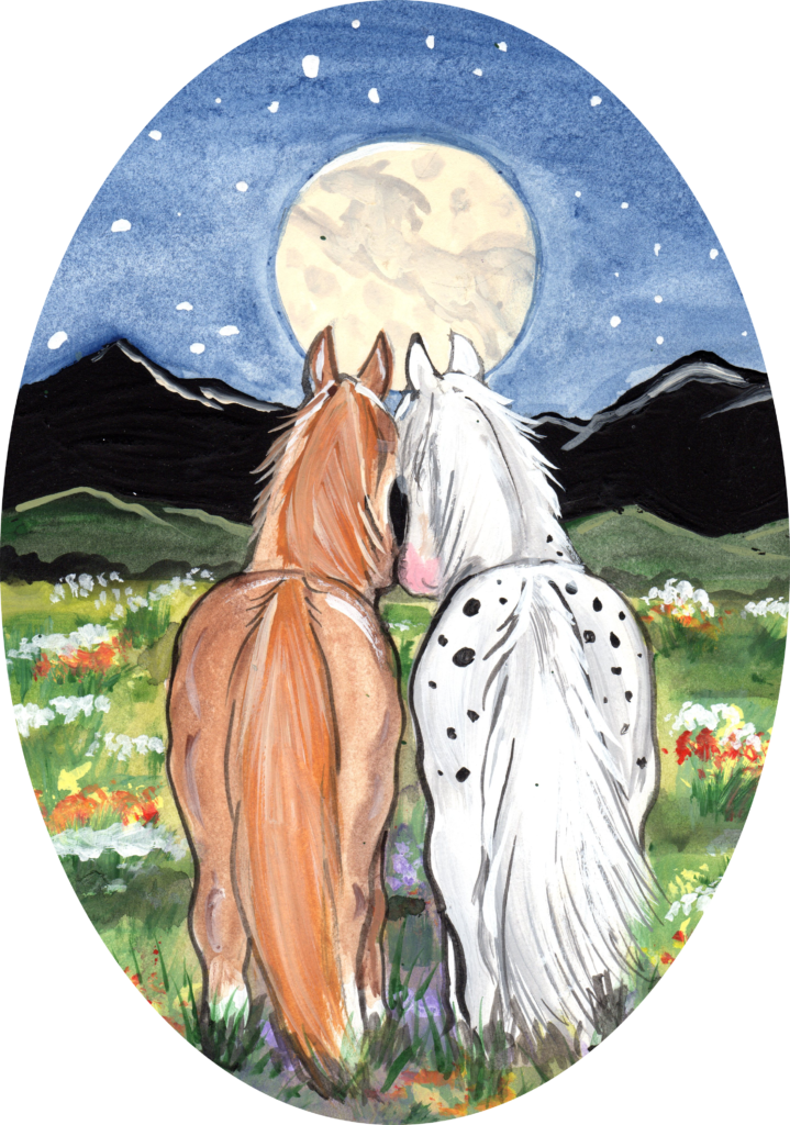 horse pony night moon friends