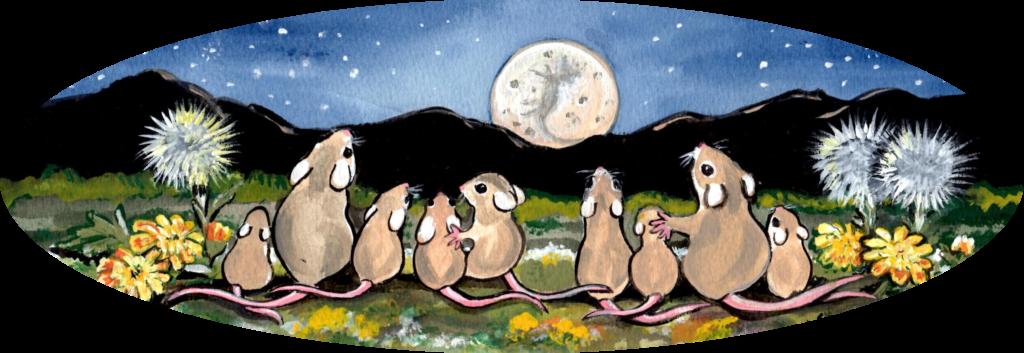 mouse family dandelion night moon
