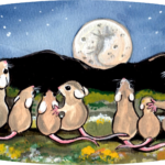 mouse family dandelion night moon