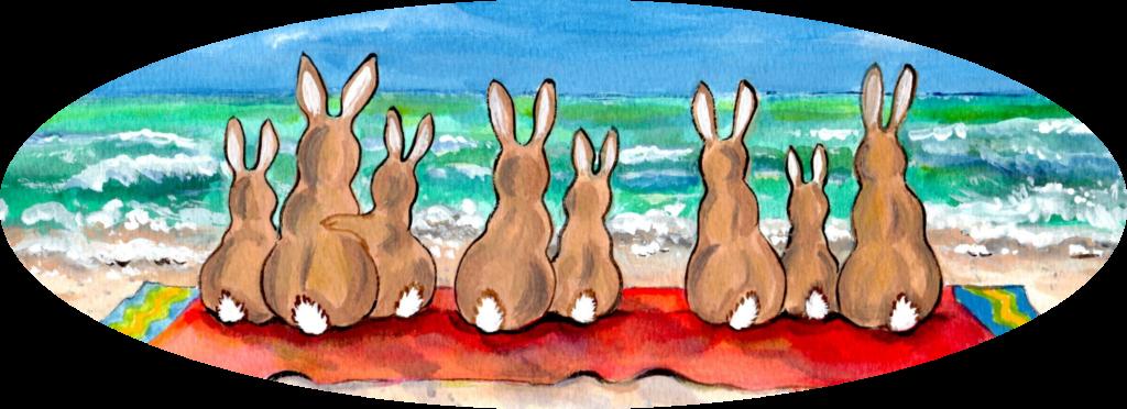 rabbit bunny beach towel ocean beach