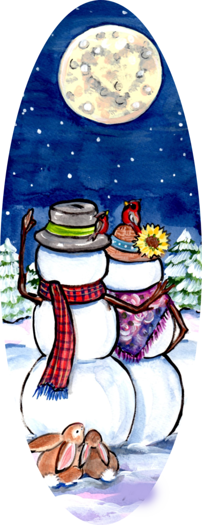 snowman husband wife rabbit cardinal snow moon romance