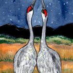 romantic crane bird night moon