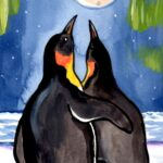 penguin family night moon iceberg aurora